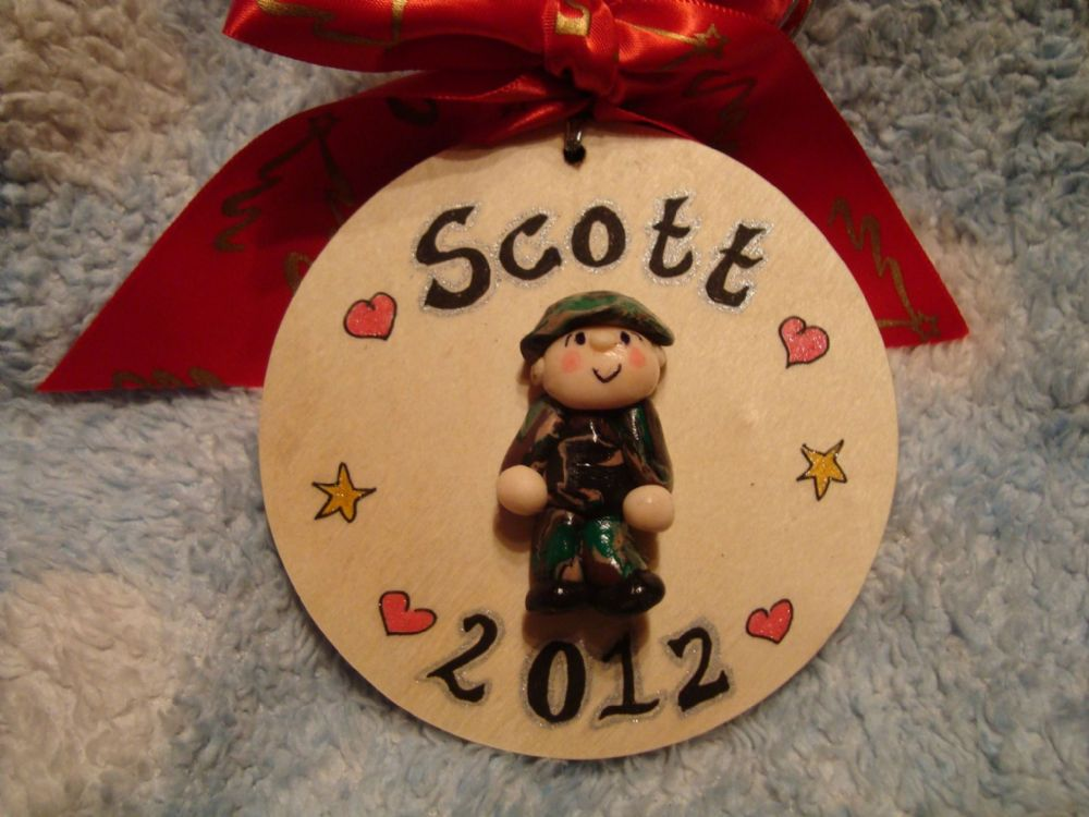 3d Army Soldier Tree Wall Hanger Decoration Bauble Christmas Birthday Wooden Sign Any Phrasing or year COD Fans